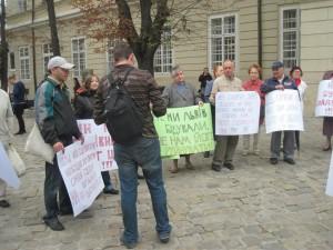 Митинг в защиту синагоги во Львове