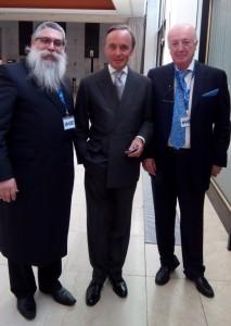 Главный раввин Украины и Киева Яков Дов Блайх, президент Евроазиатского еврейского конгресса Юлиус Майнл, сопрезидент Еврейской конфедерации Украины Борис Фуксман