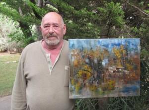 Иосиф Златкин у картины «Осенний пейзаж»  во дворе своей студии в Ариэле, 8 апреля 2013 г.