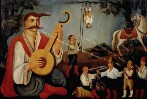 Козак Мамай і гайдамаки, які карають євреїв. Народний лубок XIX сторіччя