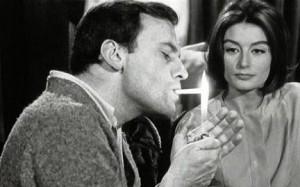 """С Жаном-Луи Трентиньяном в картине """"Мужчина и женщина"""", 1966 г."""
