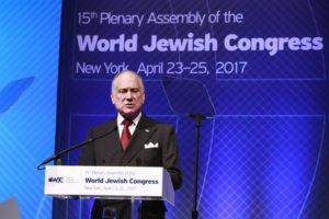 Выступает президент Всемирного еврейского Конгресса Рональд Лаудер