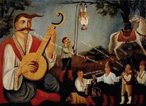 Казак Мамай и гайдамаки, которые карают евреев. Народный лубок, XIX век