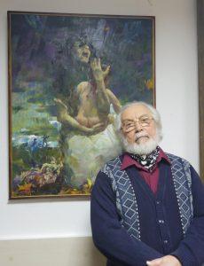 Герман Гольд у полотна «Расстрел»