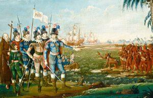 Высадка Колумба на остров Сан-Сальвадор. Картина Ф.Кеммелмейера