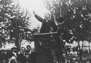 Жан Жорес на мирной демонстрации в Штутгарте. 1907 год