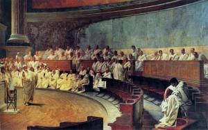 Сенат. Цицерон обличает Катилину. Картина Чезаре Маччари