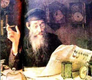 Иегуда Пэн. «Варшавский часовщик, читающий газету», 1914 г.