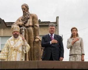 Президент Петр Порошенко на открытии памятника  Андрею Шептицкому во Львове