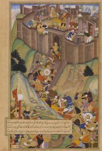 «Хулагу разрушает крепость Аламут». Монгольская миниатюра, ок. 1596 г.