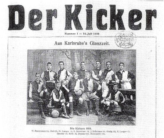 Титульная страница первого выпуска журнала Der Kicker. В центре (с мячом) – Вальтер Бенземан
