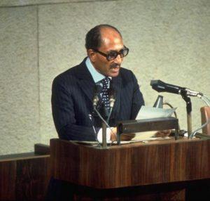 Анвар Садат во время выступления в Кнессете