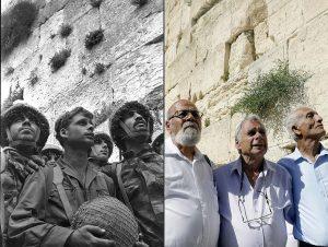 Слева – знаменитое фото «Десантники у Стены плача во время Шестидневной войны»; справа – те же десантники спустя полвека