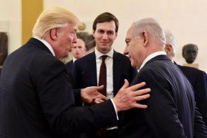 Дональд Трамп, Джаред Кушнер и Биньямин Нетаньягу