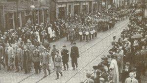 Чествование чемпионов. Торжественное шествие по улицам Гельзенкирхена. 1939 год.