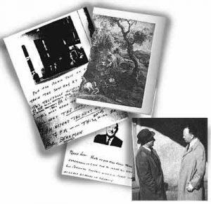 Шпионский путь коммунистов Чайлдсов в документах: инструкция для Джека; инструкция для советского агента, не знавшего Морриса в лицо, с его фотографией; «пароль» – половина открытки с репродукцией картины Рубенса «Пейзаж с телегой» (вторую половину должен был предъявить Моррису агент КГБ); встреча Морриса с советским агентом