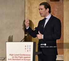 Канцлер Австрии Себастьян Курц выступает на Европейской конференции по борьбе с антисемитизмом